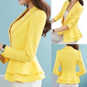 Yellow Puff Sleeve Peplum Blazer